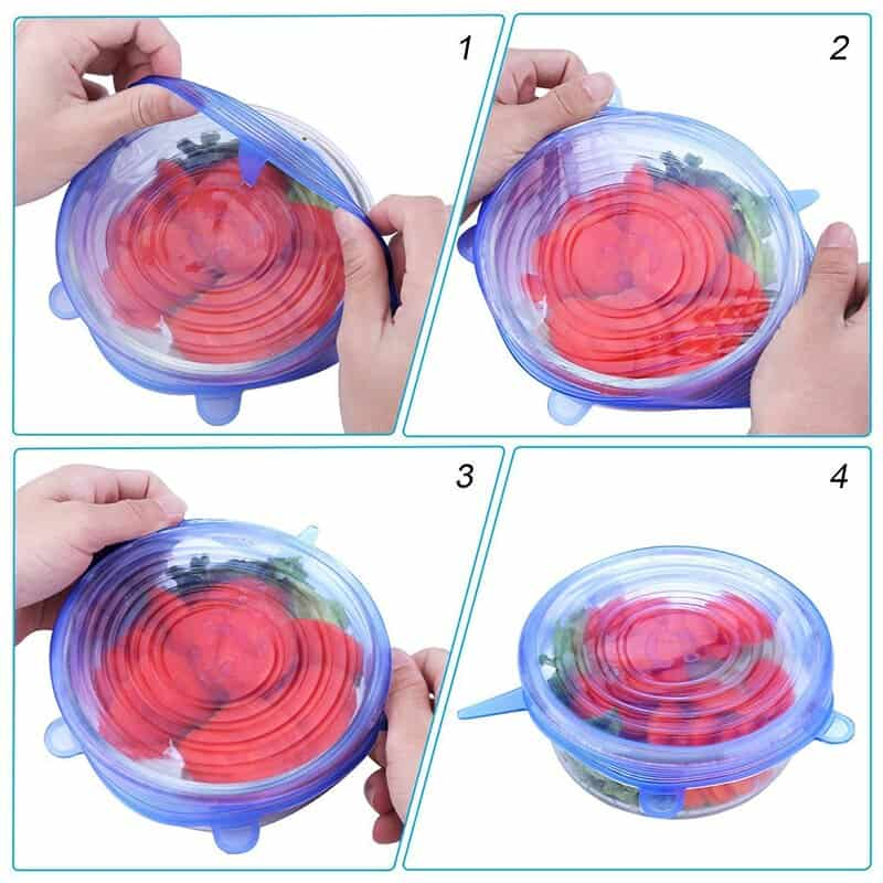 Reusable Silicone Stretch Lids 6-pieces
