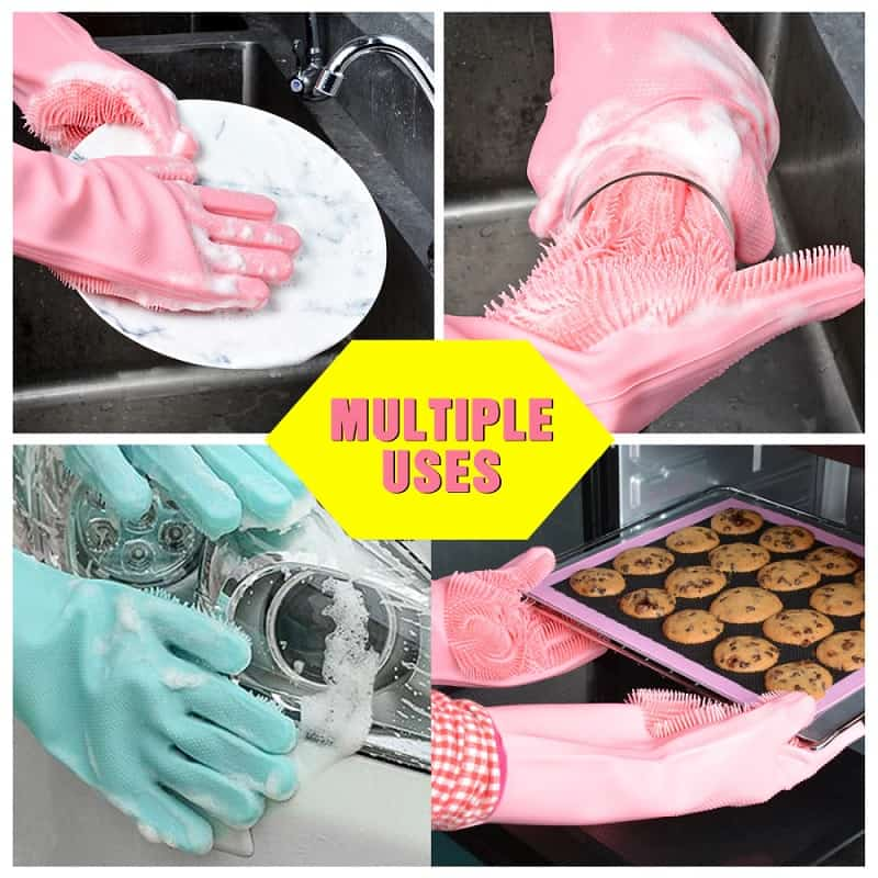 Silicone Scrubbing Gloves 1-pair